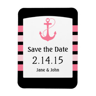 Nautical Pink and Black Wedding Save the Date Magnet