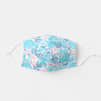 Nautical Pink And Blue Ocean Seashell Cloth Face Mask
