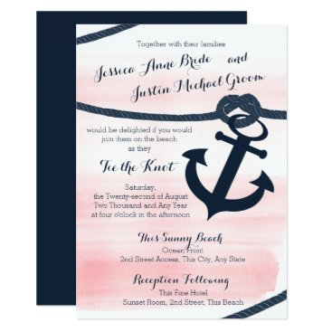 Beach Themed Nautical Pink and Navy Rope and Anchor Wedding Card