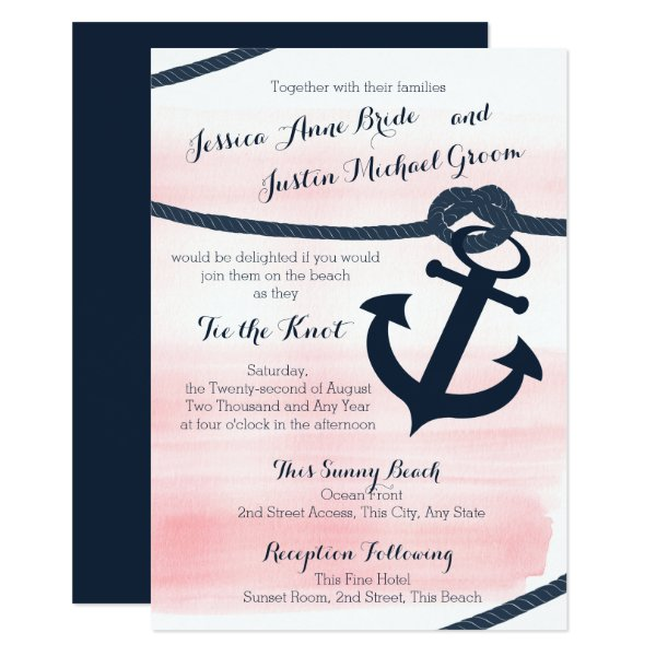 Nautical Pink and Navy Rope and Anchor Wedding Card