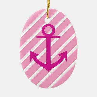 Nautical  Pink And White Stripes Fuchsia Anchor Ceramic Ornament