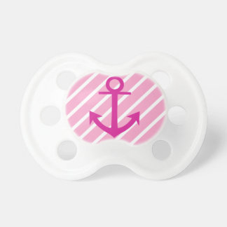 Nautical  Pink And White Stripes Fuchsia Anchor BooginHead Pacifier