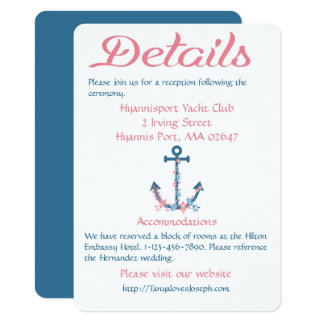 Nautical Pink Blue Details Directions Ship Anchor Card