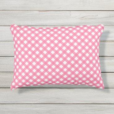 Beach Themed Nautical Pink Blue Plaid Pattern Outdoor Pillow