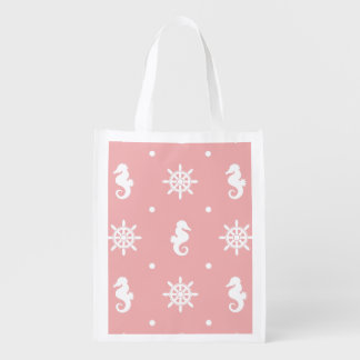 Nautical pink coral pattern grocery bag