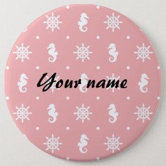 Nautical pink coral pattern pinback button