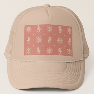 Nautical pink coral pattern trucker hat