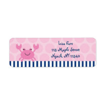 Nautical Pink Crab Address Labels