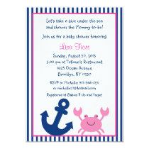 Nautical Pink Crab Baby Shower Invitations