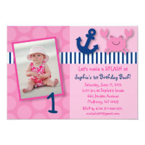 Nautical Pink Crab Birthday Invitations