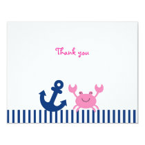 Nautical Pink Crab Flat Thank You Note Cards