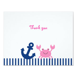 Nautical Pink Crab Flat Thank You Note Cards Custom Announcement