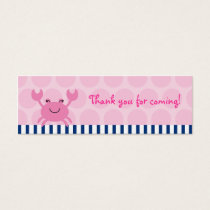 Nautical Pink Crab Goodie Bag Tags Gift Tags