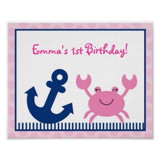Nautical Pink Crab Party Sign Poster