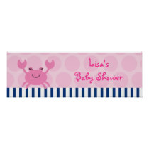 Nautical Pink Crab Personalized Banner Sign Poster