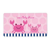 Nautical Pink Crab Water Bottle Stickers Labels