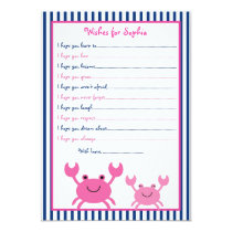 Nautical Pink Crab Wishes for Baby Card