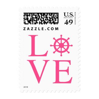 Nautical Pink Love Ship Wheel Postage Stamps