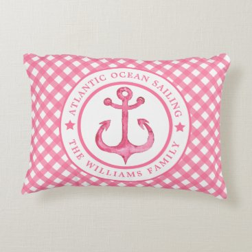 Beach Themed Nautical  Pink Plaid Personalized Accent Pillow