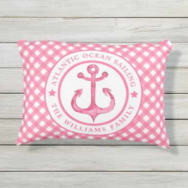 Beach Themed Nautical  Pink Plaid Personalized Outdoor Pillow