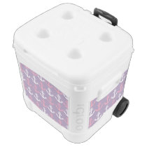 Nautical Pink Purple Anchors Pattern Rolling Cooler