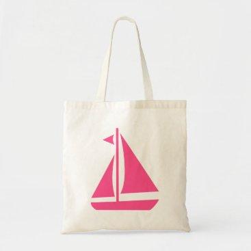Beach Themed Nautical Pink Sailboat- Beach Ocean Boat Tote Bag