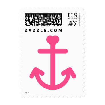 Beach Themed Nautical Pink Ship Anchor Postage Stamps