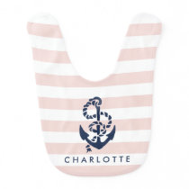 Nautical Pink Stripe Anchor Personalized Baby Bib