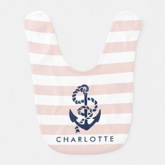 Nautical Pink Stripe Anchor Personalized Baby Bib