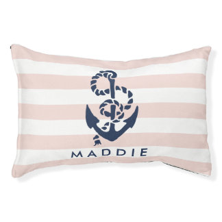 Nautical Pink Stripe Anchor Personalized Dog Bed