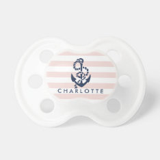 Nautical Pink Stripe Anchor Personalized Pacifier at Zazzle