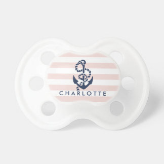 Nautical Pink Stripe Anchor Personalized Pacifier