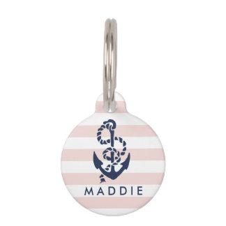 Nautical Pink Stripe Anchor Personalized Pet Tag