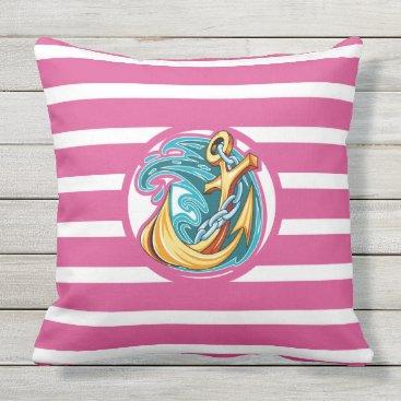 Beach Themed Nautical Pink Stripe Monogram Outdoor Pillow Lg