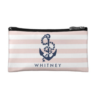 Nautical Pink Stripe & Navy Anchor Personalized Makeup Bag at Zazzle