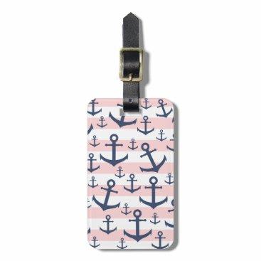 Nautical pink stripe navy blue anchor pattern bag tag