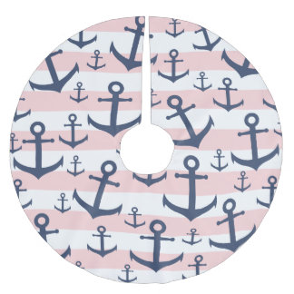 Nautical pink stripe navy blue anchor pattern brushed polyester tree skirt