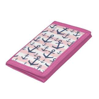 Nautical pink stripe navy blue anchor pattern trifold wallet