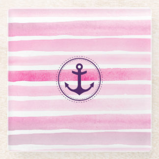 Nautical Pink Watercolor Stripes Trendy Anchor Glass Coaster