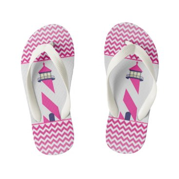 Beach Themed NAUTICAL PINK & WHITE CHEVRON with PINK LIGHTHOUSE Kid's Flip Flops