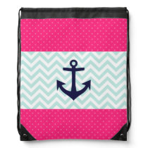 Nautical Pink White Mint Chevron Anchor Pattern Drawstring Backpack