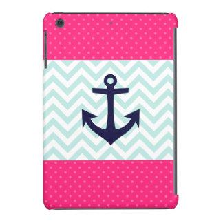 Nautical Pink White Mint Chevron Anchor Pattern iPad Mini Retina Case