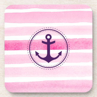 Nautical Pink White Watercolors Pattern and Anchor Drink Coaster