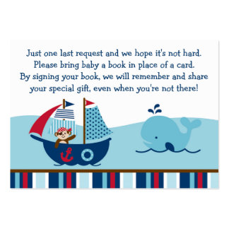 Nautical Pirate Book Request Cards Large Business Card