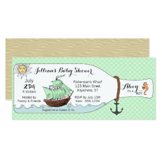 Nautical Pirate Ship in Bottle Baby Shower Card