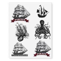 Nautical Pirate Tats! Octopus Kraken Sailor Ship Temporary Tattoos