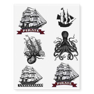Nautical Pirate Tats! Octopus Kraken Sailor Ship Temporary Tattoos