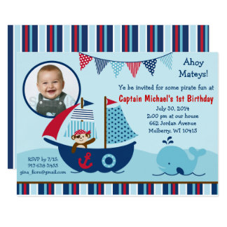 Nautical Pirate Whale 1st Birthday Card