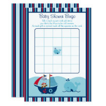 Nautical Pirate Whale Baby Shower Bingo Card