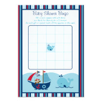Nautical Pirate Whale Baby Shower Bingo Cards